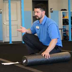 Alan explaining foam rolling